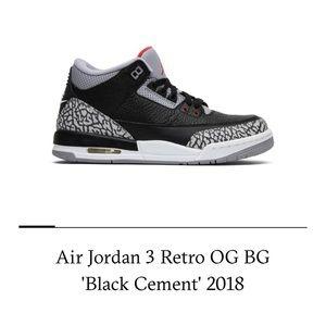 OG Retro Jordan 3s black cement GS